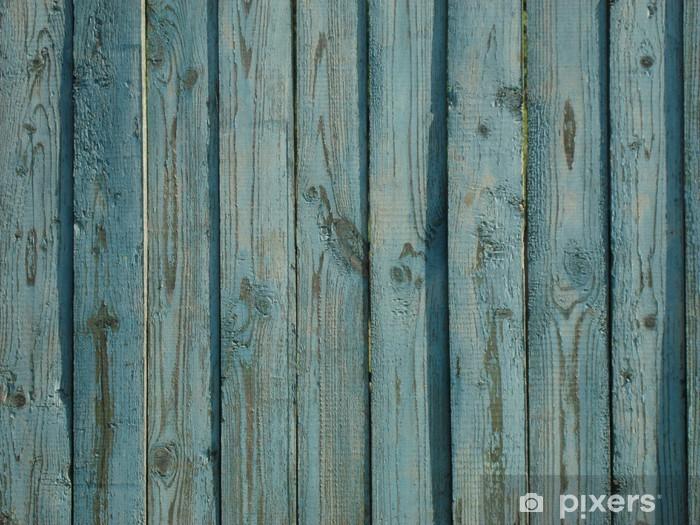 Naklejka Pixerstick Vintage niebieski drewniany płot na wsi - Tekstury