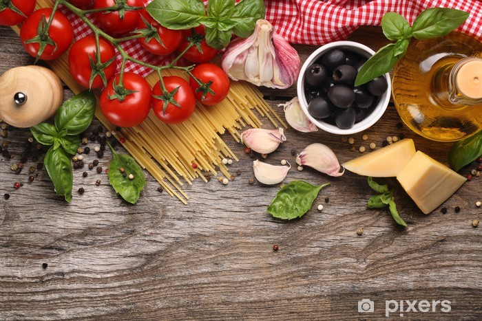 Papier peint vinyle Légumes, herbes et épices pour la cuisine italienne - Thèmes