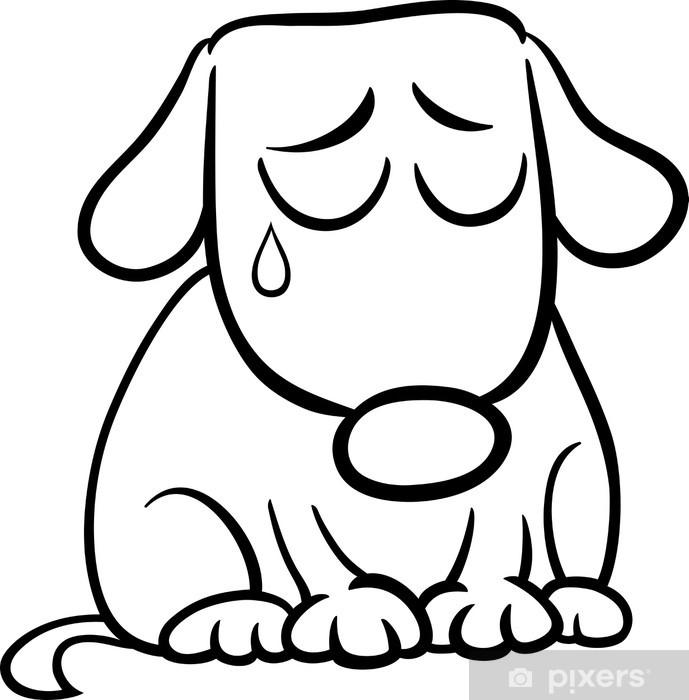 üzgün Köpek Karikatür Boyama Buzdolabı çıkartması Pixers Haydi