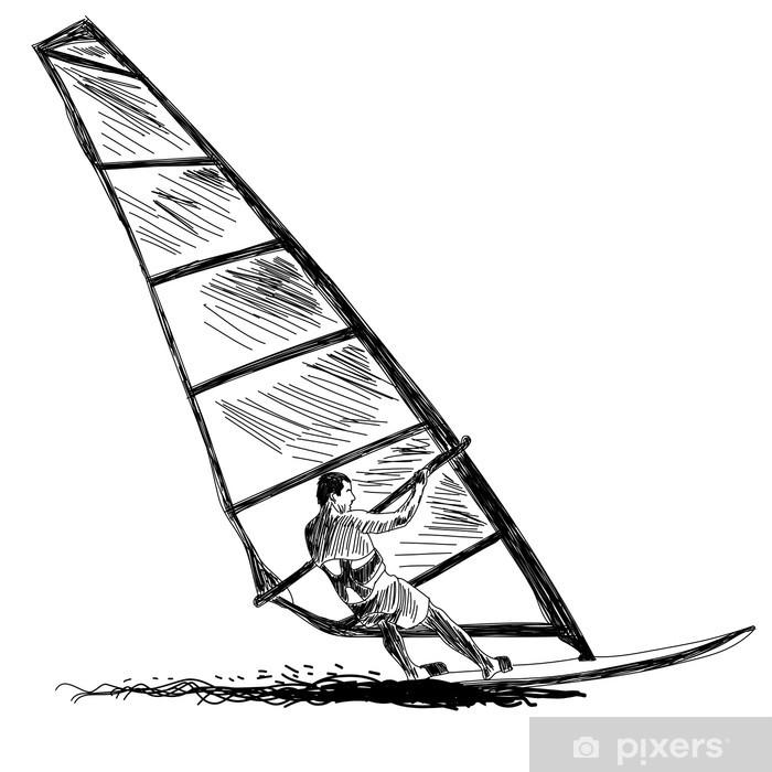 Papier peint vinyle Planche à voile croquis - Sports aquatiques