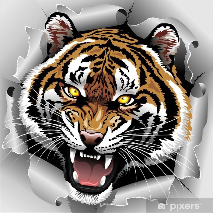 Sticker Pixerstick Tiger Roar sortant de papier déchiré - Thèmes