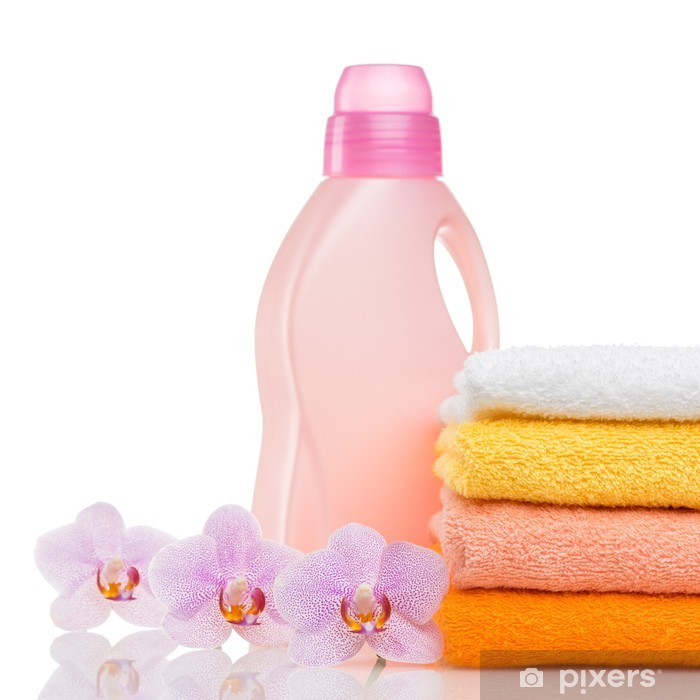 Detergent for washing machine in laundry with towels Framed Poster - Home and Garden