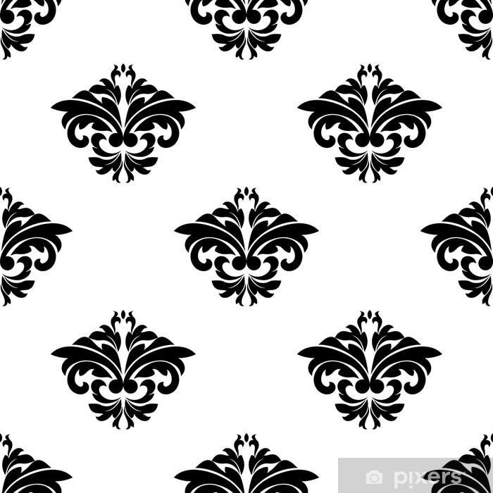 Plakat Kwiatowe motywy w deseń adamaszku bez szwu powtarzania - Tła