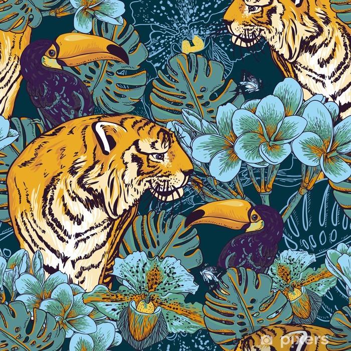 Buzdolabı Çıkartması Tiger ile tropikal çiçek sorunsuz arka plan - İş dünyası
