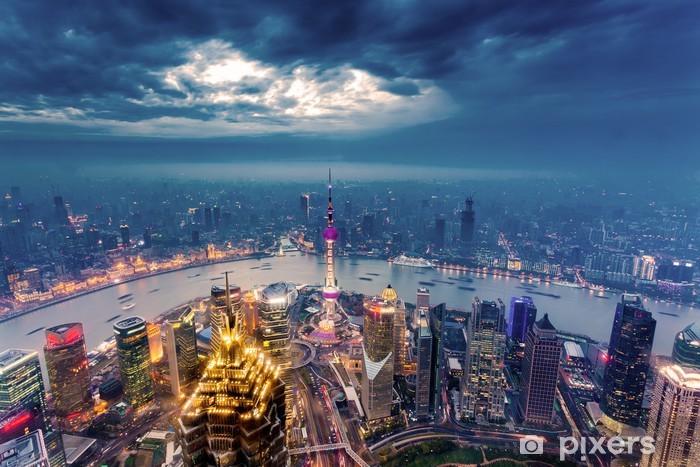 Shanghai Skyline Wall Mural Vinyl