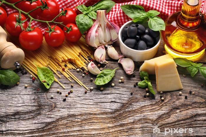 Vinyl Fotobehang Groenten, kruiden en specerijen voor Italiaans eten - iStaging