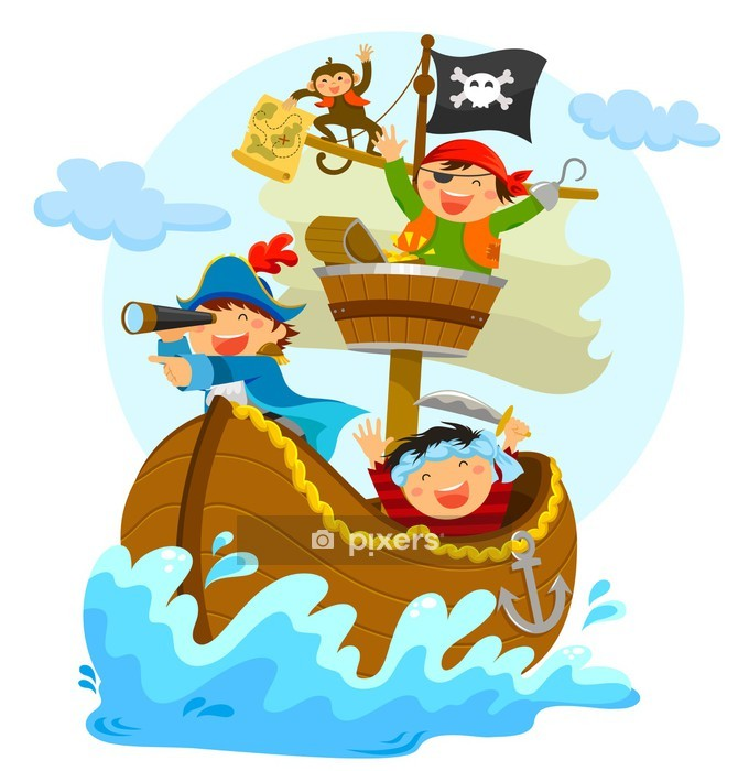 happy pirates sailing in their ship Wall Decal - Wall decals