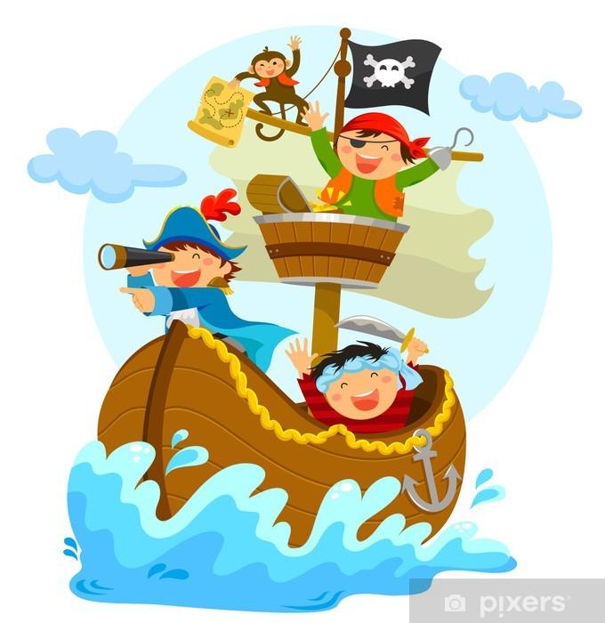 Fototapeta winylowa Szczęśliwe piraci żaglowych w ich statku - Naklejki na ścianę