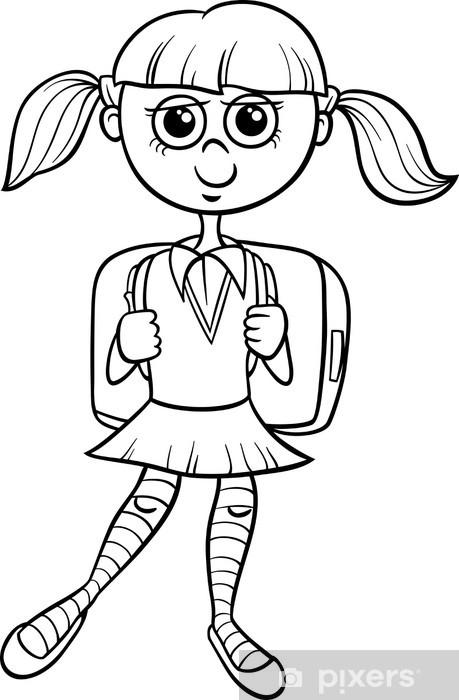 Fotomural La escuela primaria de libro para colorear niña • Pixers ...