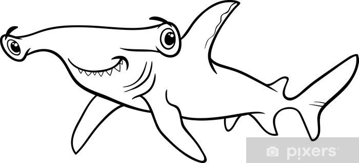 Hammerhead Shark Coloring Book Sticker Pixerstick