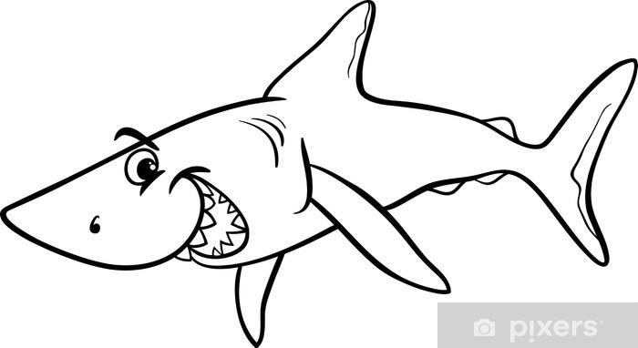 Köpekbalığı Hayvan Karikatür Boyama Kitabı Duvar Resmi Pixers
