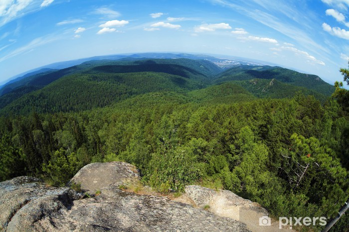 Naklejka Pixerstick Widok z filarów Krasnojarsku na Syberii - Góry
