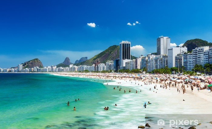 Naklejka Pixerstick Widok z plaży Copacabana w Rio de Janeiro, Brazylia - Brazylia