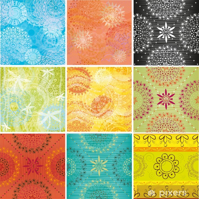 Big set of textures with Indian patterns Poster - Textures
