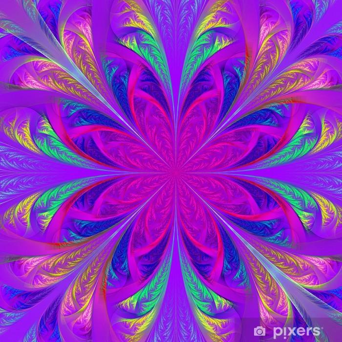 Naklejka Pixerstick Fraktal kwiat piękne wielobarwne. Wygenerowane komputerowo grafiki - Tła