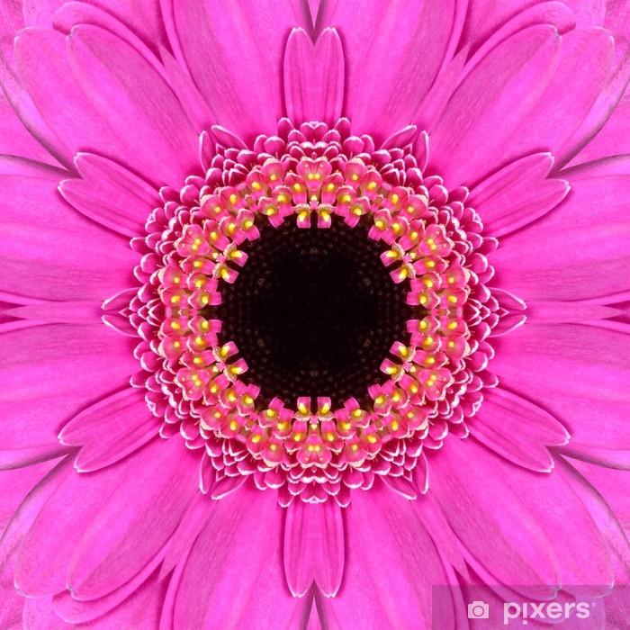 Sticker Pixerstick Mandala rose concentrique Fleur Centre Kaléidoscope - Fleurs