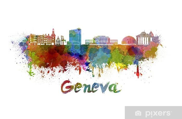 Fototapeta winylowa Genewa skyline w akwarela - Europa