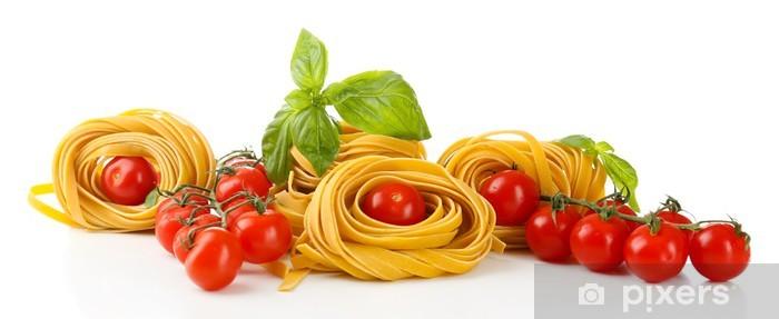 Papier peint vinyle Pâtes et tomates, isolé sur blanc maison Raw - Thèmes