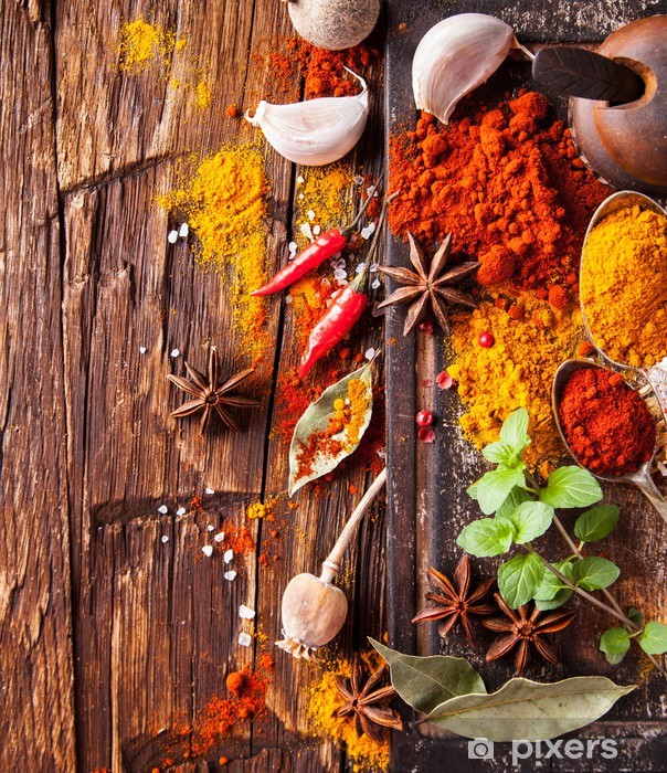 Various spices on wood Vinyl Wall Mural - Spices, Herbs and Condiments