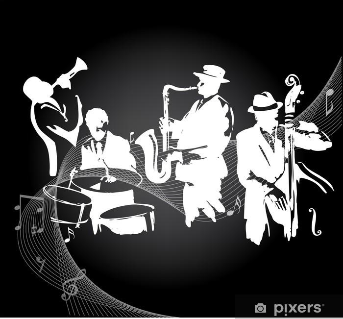 Papier peint vinyle Concert de jazz fond noir - Jazz