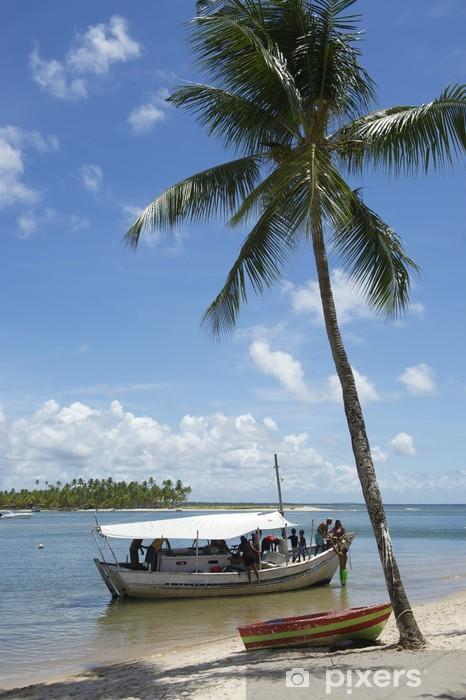 Naklejka Pixerstick Palmy brazylijskiej plaży łódź - Ameryka