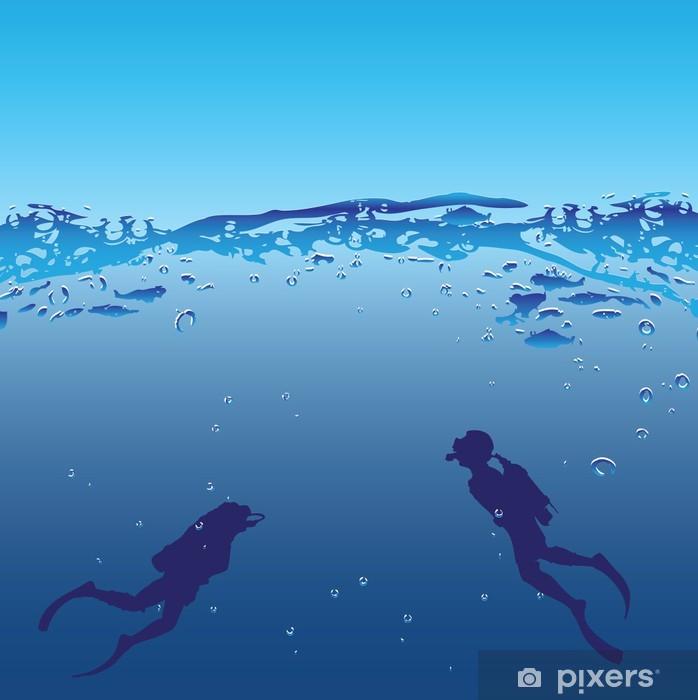 Vinyl Fotobehang Onderwater zwemmers - Watersporten