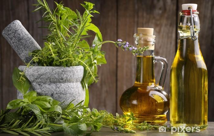 Fotomural Autoadhesivo Hierbas y aceite - Hierbas