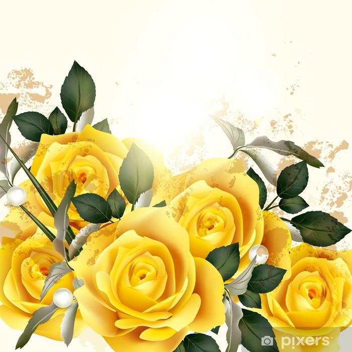 Nálepka Pixerstick Krásné vektor pozadí s béžové růže - Květiny