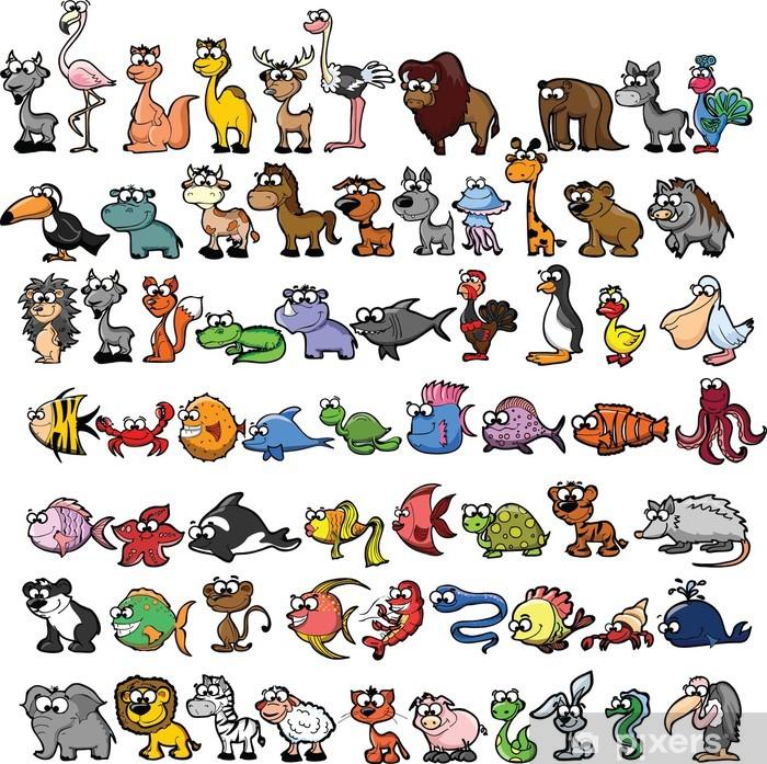 Nálepka Pixerstick Sada roztomilých kreslených zvířat - Savci