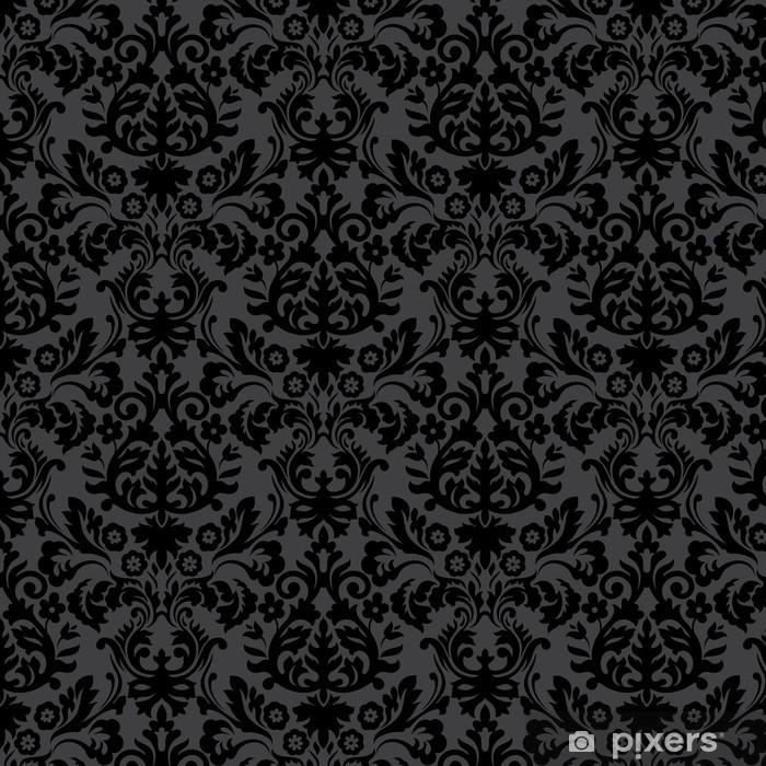 Sticker Pixerstick Damassé noire motif floral vintage - Styles
