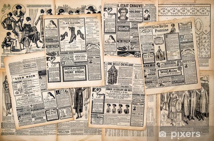 Fotomural Estándar Las páginas del periódico con la publicidad antigua - Lectura