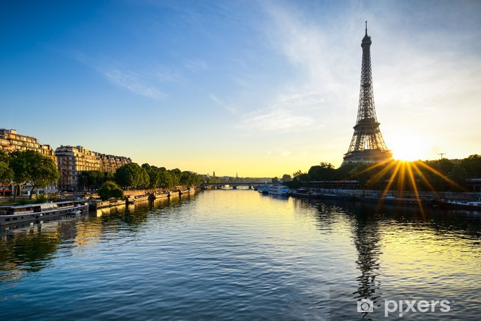 Sunrise at the Eiffel tower, Paris Vinyl Wall Mural - Themes