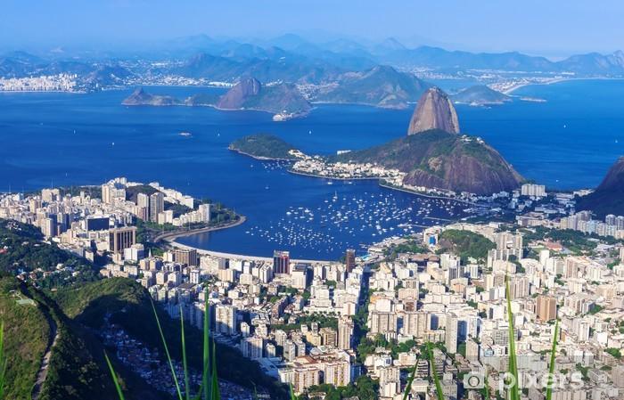 Vinyl Fotobehang De berg Sugar Loaf en Botafogo in Rio de Janeiro - Brazilië