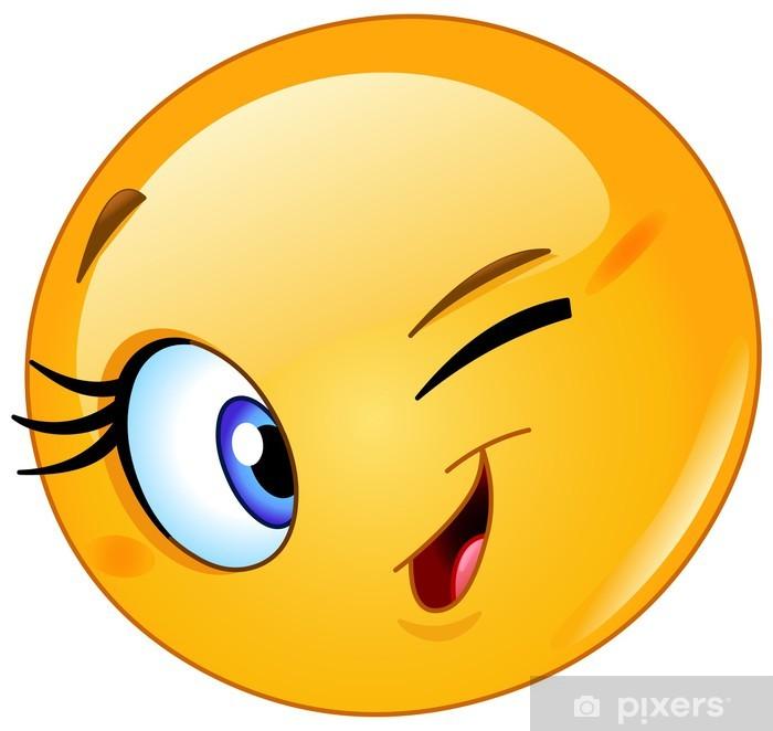 Aufkleber Weiblich Emoticon Augenzwinkern • Pixers® - Wir