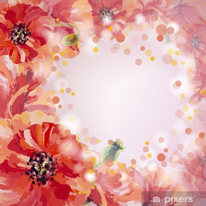 Plakat Maki. letnie kwiaty szablon karty zaproszenie - Style