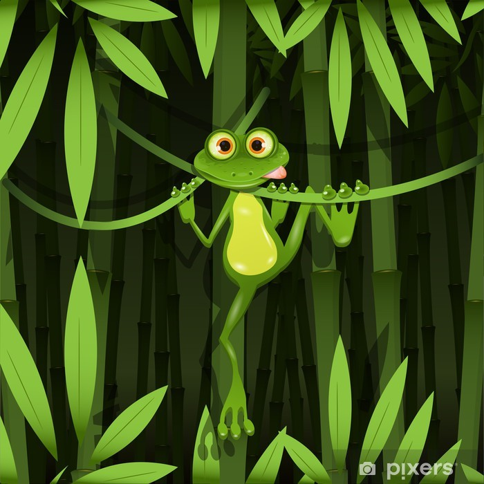 frog in a jungle Pixerstick Sticker - Frogs