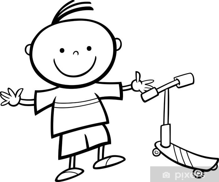 Fotomural Estándar Niño Con Scooter De Dibujos Animados Para Colorear