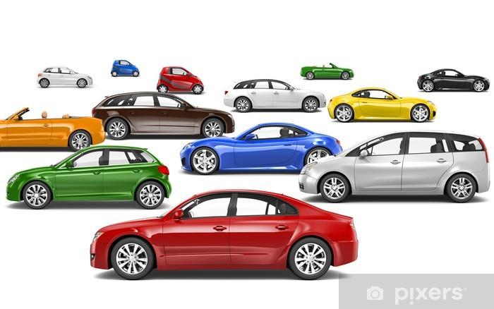 Fotobehang Multi Gekleurde Auto S Geparkeerd Op Verschillende Richtingen Pixers We Leven Om Te Veranderen
