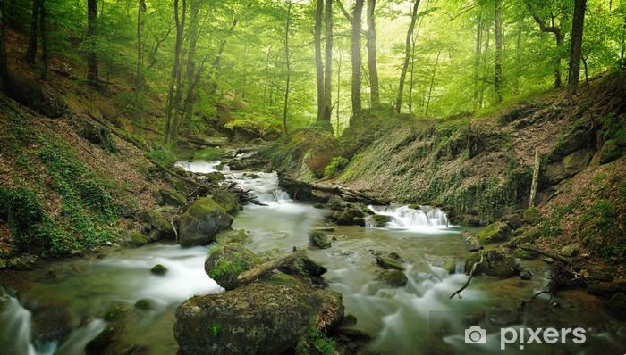 forest waterfall Pixerstick Sticker - Themes
