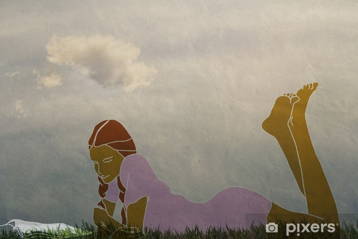 Papier peint vinyle Fille couchée en plein air et en lisant un livre, cru - Art et création