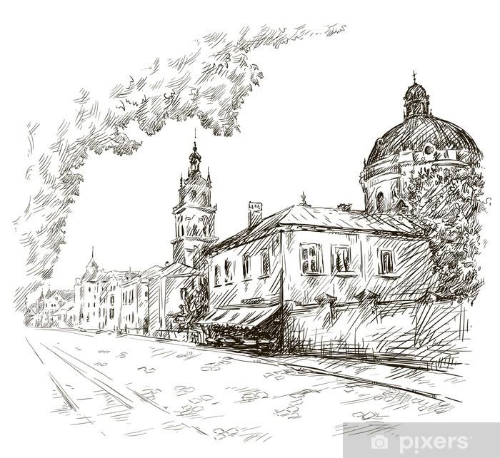 Poster Skizze einer Straße. Alte Stadt. Stadtzentrum. Vektor - Europa