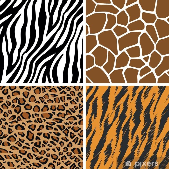 Naklejka Pixerstick Zestaw zwierząt - żyrafa, lampart, tygrys, zebra bez szwu wzór - Ssaki
