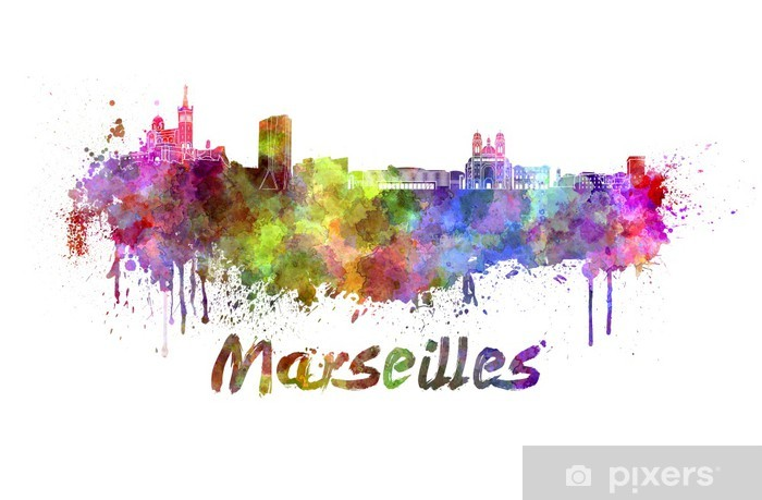 Pixerstick Sticker Marseille skyline in aquarel - Europa