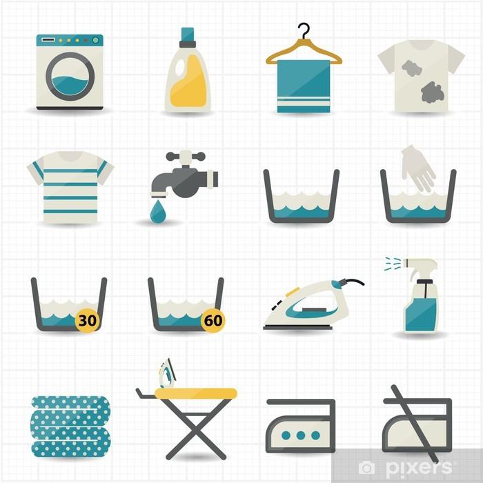 Sticker Pixerstick Blanchisserie et de lavage des icônes - Maisons et jardins
