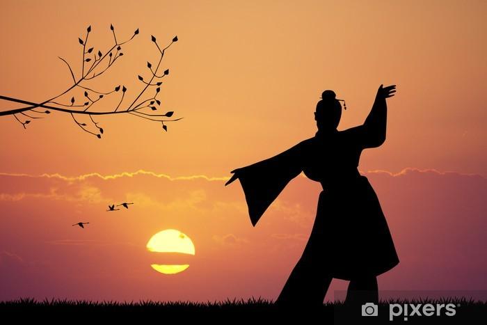 Naklejka Pixerstick Taniec japoński o zachodzie słońca - Kobiety