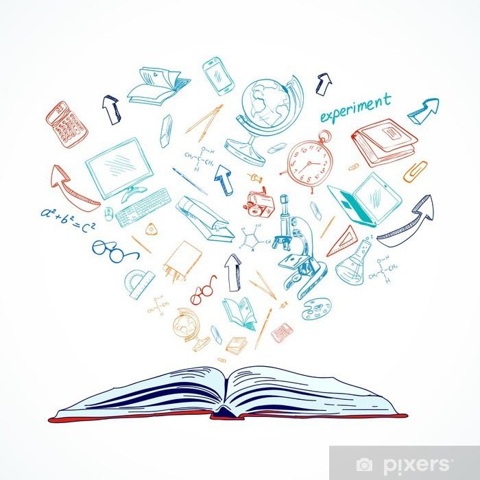 Open book education concept doodle Wall Mural - Vinyl