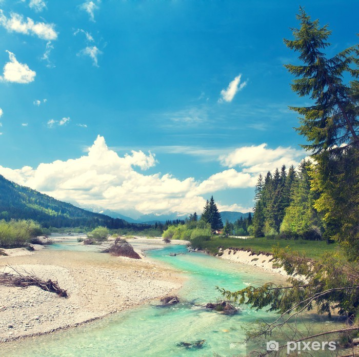 Fototapet av Vinyl Isar fließt aus den Alpen - Teman