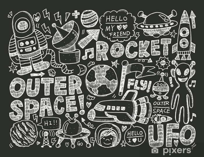 ee208fb7785 doodle space element Wall Mural • Pixers® • We live to change
