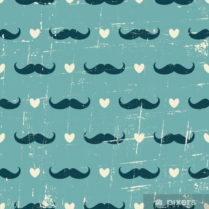 Seamless Mustache and Hearts Background Pixerstick Sticker - Moustache