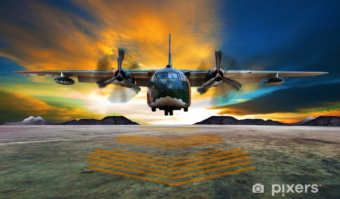 military plane landing on airforce runways against beautiful dus Vinyl Wall Mural -